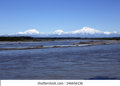 Denali or McKinley Mountain on a very clear day Alaska