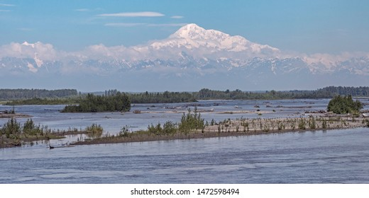 denali mt mckinley alaska from near talkeetna with the river in the foreground