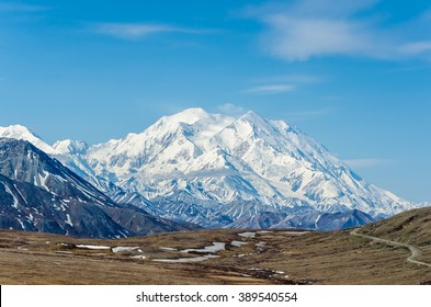 DENALI NATIONAL PARK, ALASKA, USA - JUNE 9 2013: Mt McKinley on a clear day on June 9 2013 in Alaska.  Mt McKinley is the highest mountain in North America and on August 28 2015 was renamed to Denali.