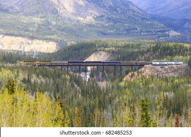 DENALI NATIONAL PARK, ALASKA, USA - MAY 24, 2017: Alaska Railroad Train passing the Riley Creek Trestle Bridge in Denali National Park.