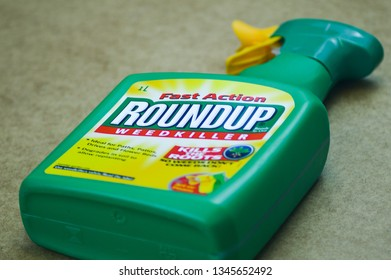 Denbigh, UK - March 21st, 2019: RoundUp weed killer. Monsanto fined after jury rules roundup a key factor in mans cancer - Image
