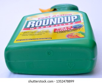 Denbigh, UK - March 27th, 2019: RoundUp weed killer.  Roundup a key factor in mans cancer jury finds.