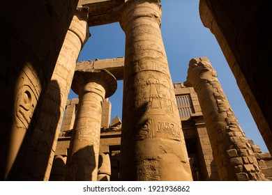 Dendera Temple complex in Egypt. Hieroglypic carvings on wall at the ancient egyptian temple.