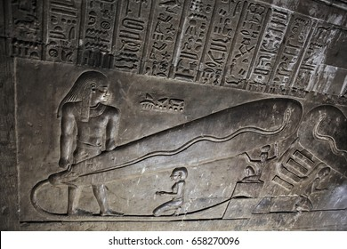 DENDERA TEMPLE, QENA, EGYPT - DECEMBER 05, 2014: Dendera light, controversially used as proof that the ancient egyptians had access to electricity in the crypt of the ancient Egyptian goddess Hathor
