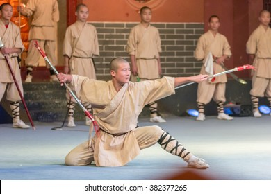 DENGFENG,HENAN,CHINA-OCT 28: Unidentified monk performs Chinese martial arts called Shaolin Kung Fu (Shaolin Wushu) at Shaolin Temple Monastery