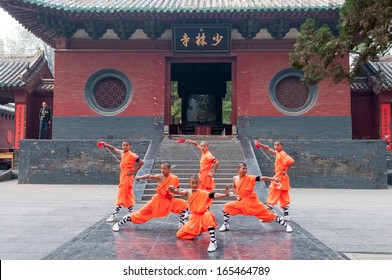 DENGFENG,HENAN,CHINA-OCTOBER 21:The group of Shaolin kungfu performs at Shaolin Temple on October 21,2013 in Dengfeng of Henan Province, China.