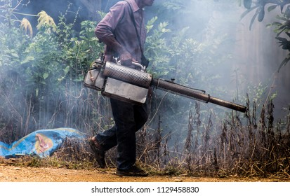 Dengue Can be prevented by fumigation mosquitoes machine for kill mosquito carrier of Zika virus, spraying DDT, insecticide so mosquitoes die. Prevalent homes, communities. spraying area damp and dark