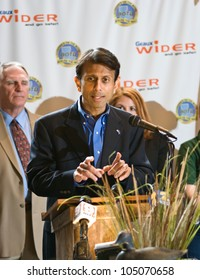 "DENHAM SPRINGS, LA - JUNE 12: Louisiana Governor Piyush ""Bobby"" Jindal speaks to Louisiana residents at a press conference for a large construction project on Interstate 12 on June 12, 2012."
