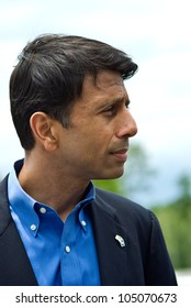 "DENHAM SPRINGS, LA - JUNE 12: Louisiana Governor Piyush ""Bobby"" Jindal speaks to Louisiana residents at a ribbon cutting for a large construction project on Interstate 12 on June 12, 2012."