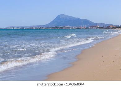 Denia beach in sunny day in Valencia, Spain