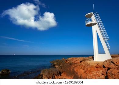 Denia Las Rotas beach el Trampoli baywatch tower Alicante of Spain