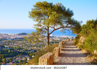 Denia track in Montgo mountain at Alicante Mediterranean Spain