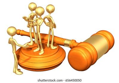 Denied Legal Representation The Original 3D Characters Illustration