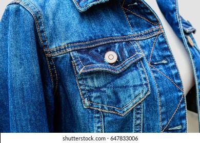 Denim blue jacket. Classic blue  Denim jeans Pocket with button on the women's denim jacket.