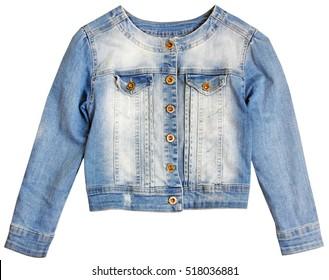 Denim blue jean jacket isolated on white.Fashion female wear.