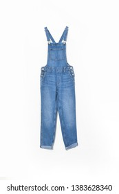 denim or blue jeans overalls-close up