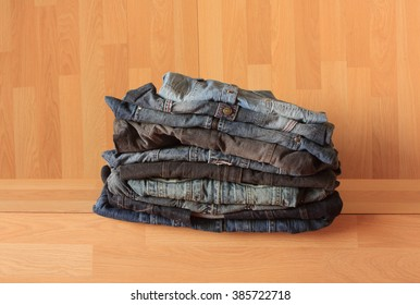 denim blue jeans shirt on wood