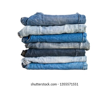 denim blue jeans stack isolated on white background