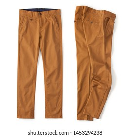 Denim cargo pants brick color laid out on a white background