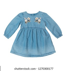 Denim dress for a girl with c sleeves isolated on a white background/ Top view/ Flat layer