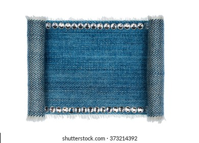 Denim frame folded in the form of manuscripts,scroll isolated on white background, with space for your text