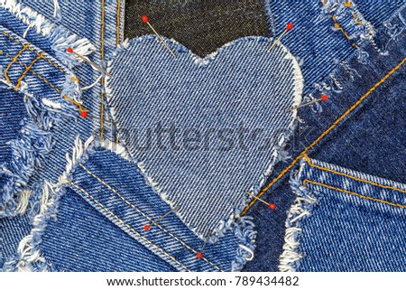 Denim Heart Frame Red Clothes Pins Stock Photo Edit Now 789434482