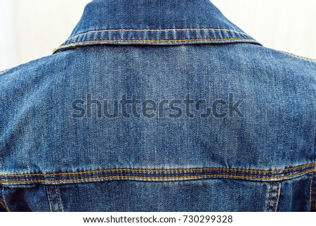 Denim Jacket Back View Stock Photo Edit Now 730299328 Shutterstock