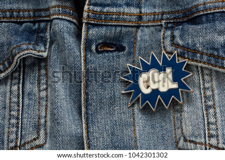 Denim Jacket Cool Graphic Pin Funky Stock Photo Edit Now