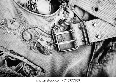 Denim Jeans Background With  belt and Seam of Jeans Fashion Design. Stitched Texture Denim Jeans Background of Fashion Jean Design