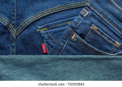 Denim jeans background with seam of jeans fashion design
