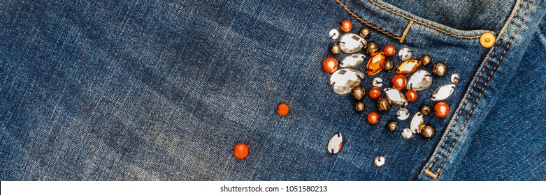 Denim Jeans Pocket embellished with Rhinestones and Jewel. Denim with sewn beads and rhinestones, banner