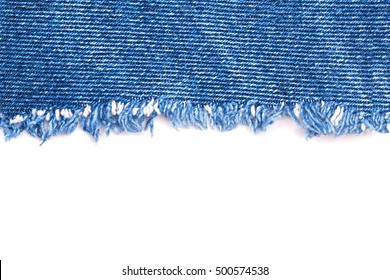 Denim Jeans Ripped Destroyed Torn Blue Patch frayed flap fabric frame isolated on white background, text place