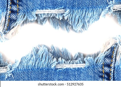 Denim Jeans Ripped Destroyed Torn Blue Edge frame isolated on white background, text place