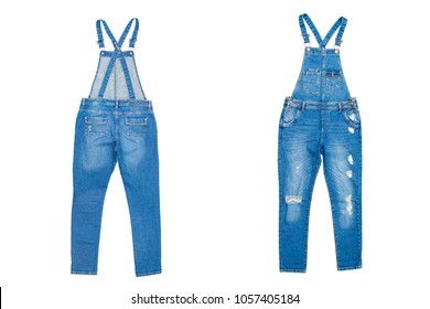 Denim jumpsuit isolated on white