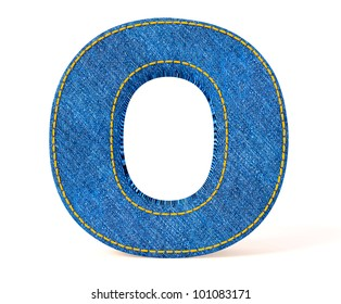 Denim letter isolated on a white background.