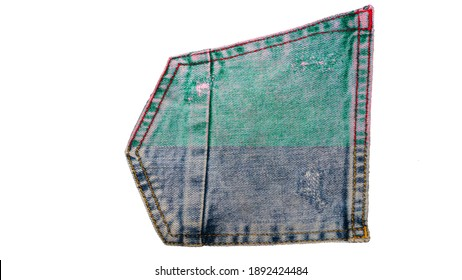 Denim multicolored icon, denim pocket isolated on white background. Jeans logo