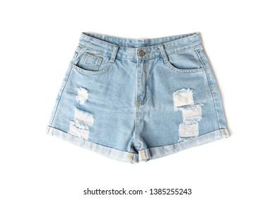 Denim shorts isolated on white background.