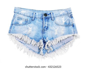 denim shorts isolated on white background