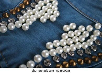 denim with studs, beads, stones background