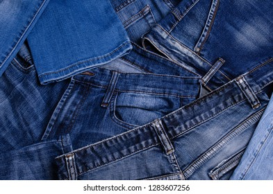 Denim. Texture of jeans. Blue denim background. Selective focus.