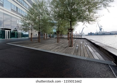 Denmark, Aarhus - October 18, 2014: Decoration and greening of the square in front of the building on the seashore