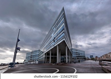 Denmark, Aarhus - October 18, 2014: A building with an aggressive, angular architecture in gloomy weather in the city of Århus