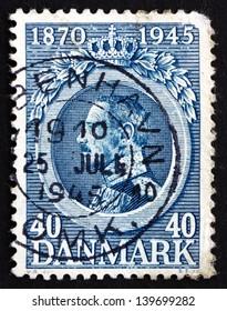 DENMARK - CIRCA 1921: a stamp printed in the Denmark shows King Christian X, King of Denmark, circa 1921
