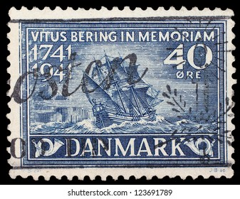 DENMARK - CIRCA 1941: Post stamp printed in Denmark in memory of 300 years from date of death of Vitus Bering - sea explorer and navigator from Denmark, circa 1941