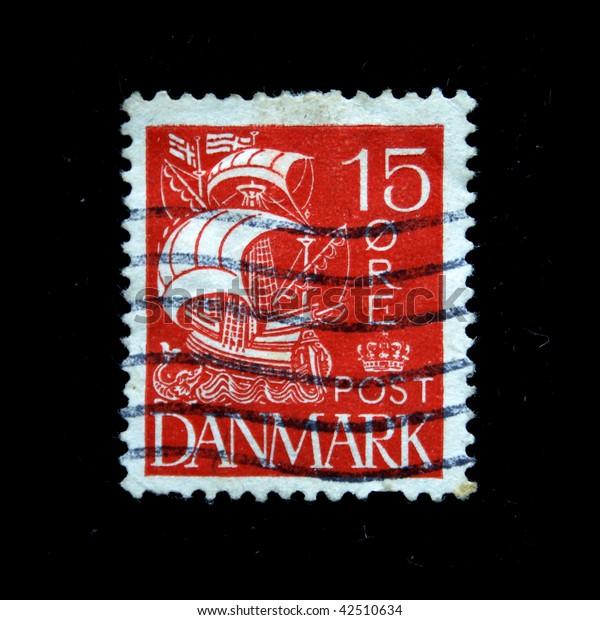 DENMARK- CIRCA 1943: A stamp printed in Denmark shows ship, circa 1943