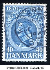 DENMARK - CIRCA 1945: stamp printed by Denmark, shows Christian X, circa 1945