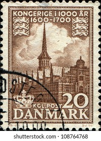 DENMARK - CIRCA 1953: A stamp printed in Denmark shows Copenhagen Stock Exchange, circa 1953