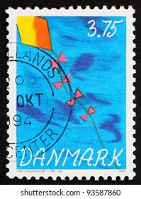 DENMARK - CIRCA 1994: a stamp printed in the Denmark shows Kite in the sky, Children's Stamp Competition, circa 1994