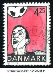 DENMARK - CIRCA 2003: stamp printed by Denmark, shows football, circa 2003