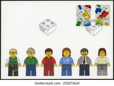 DENMARK - CIRCA 2015: A stamp printed in Denmark shows Lego Blocks, Europa 2015, circa 2015